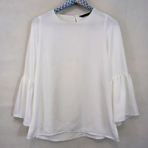 Zara Basics White Bell Sleeve Blouse sz Small